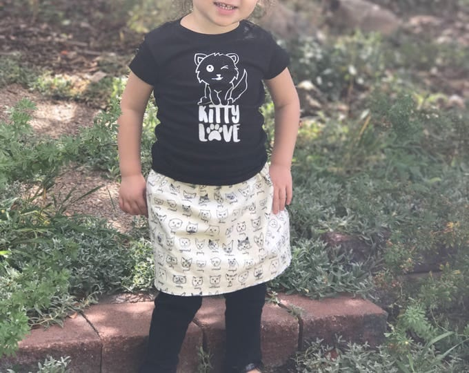 Featured listing image: Kitty Shirt and or Skirt. Toddler outfit. Kitty Love. Girls Cat shirt with reversible skirt: cats and polka dots. Cat Lover gift 2T-8