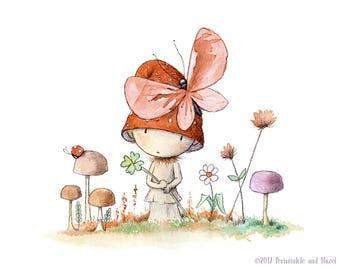 Basil Embers' Very Good Luck - Red Cap Mushroom  - Fairy Art - Art Print