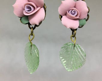 Pink Rose and Glass Leaf Lever Back Pierced Earrings