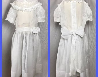 1950s Little Girl's Sheer White Swiss Dot Party Dress by Nathan Krauskopf from Crawford Hollidge of Boston - Size 8 10