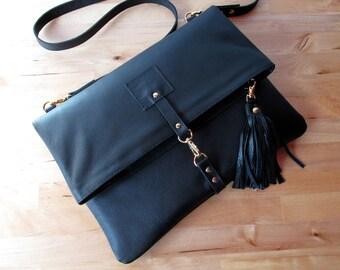 Foldover leather clutch / crossbody bag in Black , Basic Minimalist clutch / bag / purse