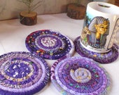 Purple Bohemian Coiled Fabric Coasters - Set of 4 - Kitchen, Entertaining, Hostess Gift