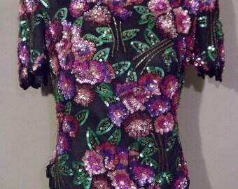 80s Party Sequin Blouse / Bead Blouse / Laurence Kazar / Vintage Sequin Top