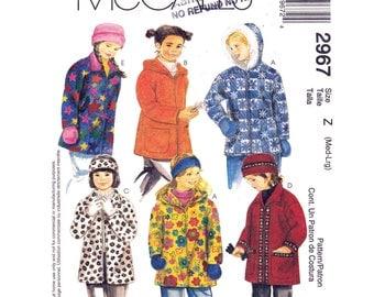 Girls Fleece Jacket Pattern McCalls 2967 Zipper Front Hooded Coat, Hat, Headband, Mittens Girls Size 7 8 10 12 Sewing Pattern UNCUT