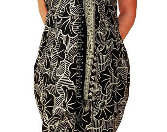 PLUS SIZE Sarong Dress or Skirt Women's Clothing ~ Black & Cream Beach Sarong Batik Pareo Wrap Skirt Extra Long Sarong ~ Plus Size Swimwear