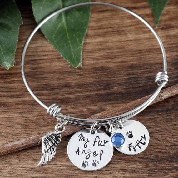 Personalized Memorial Bangle Bracelet, My Fur Angel Bracelet, Memorial Charm Bracelet, Gift for Dog Mom, Fur Baby, Wire Bangle, Gift for Her