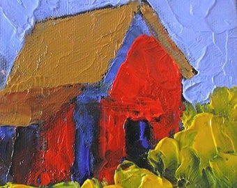 Miniature Impressionist Oil Painting 4x4 Plein Air California FARM BARN Santa Cruz Landscape Lynne French Art
