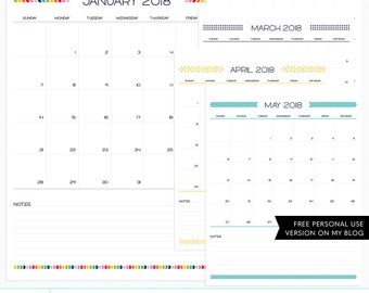 Live Free : Love Life 2018 Calendar + EURO Digital Templates - instant download - limited commercial use ok