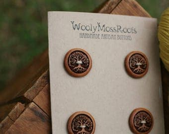 4 Cherry Wood Tree Buttons- Cherry Wood- Wooden Buttons- Eco Craft Supplies, Eco Knitting Supplies, Eco Sewing Supplies