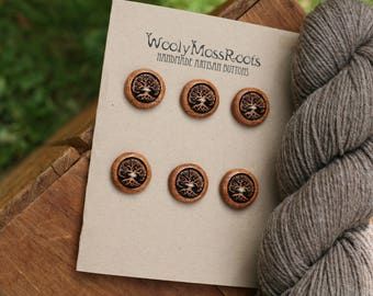 6 Madrone Wood Tree Buttons- Wooden Buttons- Eco Craft Supplies, Eco Knitting Supplies, Eco Sewing Supplies