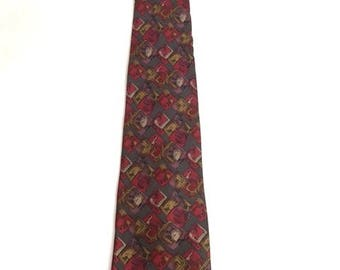 Vintage GRAY And RED Geometric SILK Tie / 80s Geoffrey Beene Necktie