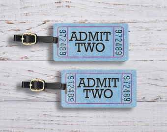 Luggage Tag Admit TWO Ticket Luggage Tag Set With Printed Custom Info On Back, 2 Tags Choice of Straps