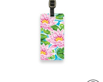 Luggage Tag Pink Water Lily  Metal Luggage Tag With Printed Custom Info On Back, Single Tag