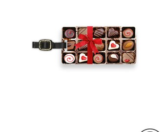 Luggage Tag Box of Chocolates Metal Luggage Tag With Printed Custom Info On Back, Single Tag