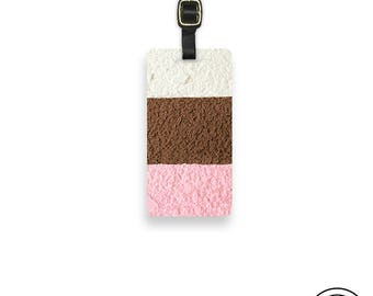 Luggage Tag neapolitan Ice Cream Metal Luggage Tag With Printed Custom Info On Back Single Tag