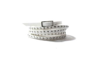 White  Leather Wrap  Cuff Bracelet ,   Silver Studded Leather , Skinny Leather Bracelet