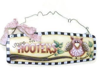 Breast Cancer Awareness Hand Painted Sign With Owl Theme |  Save The Hooters Sign