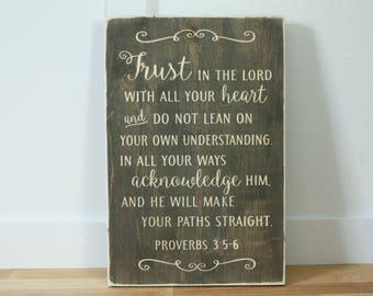 Trust in the Lord with all Your Heart Proverbs 3:5 Carved Wooden Sign - 12x18 Vintage Distressed Bible Verse Wood Sign