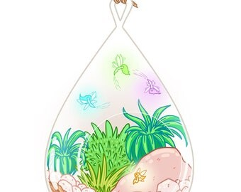 Fairy fantasy succulent terrarium 8.5x11 + 4x6 whimsical art print artwork faerie