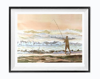 Ocean Giclee print Seascape Waves crashing breaking waves Ocean art ocean waves Sunset giclee print beach fishing watercolor painting N