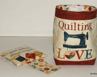 Thread Catcher Bag, Pin Cushion, Catch-all Scrap Caddy, Humorous Quilting Quotes