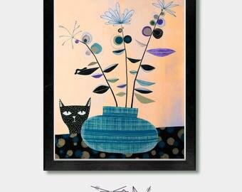 Mid Century Art, Different Perspectives. Mid Century Modern, Mid Century Wall Art, Modern Art, Boho Wall Art, Mid Century Decor, Cat Prints
