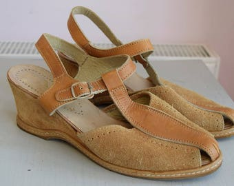 Vintage Tan Suede Sandals Size Uk 6 39