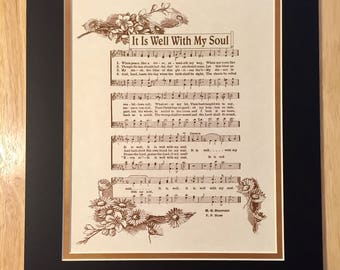 It Is WELL With My SOUL When Peace Like A River Christian Home or Office Decor Matted Hymn Wall Art Vintage Verses Sheet Music Wall Art Sale