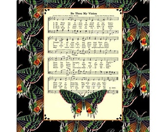 BE THOU My VISION Vintage Verses Christian Heritage Sheet Music Wall Art Inspirational Art Celtic Irish Folk Tune Green Black Wall Art Sale
