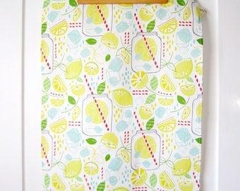 Summer Dish Towel // Tea Towel // Lemonade // Modern // Housewares // Summer // Lemons // Yellow // Mason Jar // Illustration // Summer Fun