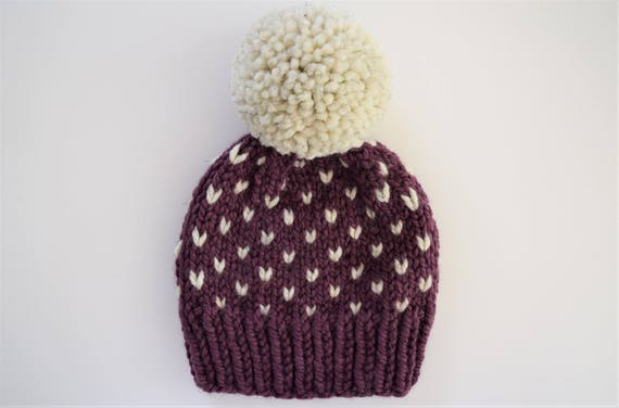 Fair Isle Hat Pattern // Hat Knitting Pattern // Little Hearts