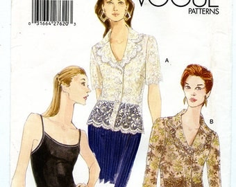 Vogue 9837 Women's Lace Blouse and Camisole Bodysuit UNCUT Sewing Pattern Sizes 8 10 12 Bust 31.5 32.5 34  XS and Small