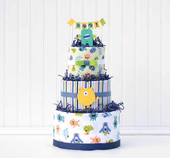 Diaper Cake for Little Monster Baby Shower, Halloween Baby Shower Decor, Boo Cake Banner, Monster Party Baby Gift, Baby Boy Diaper Cake