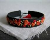 Floral Bracelet, Orange Rose Bracelet,  Hand Embroidered Cuff,  Embroidered Cuff Bracelet, Black Linen Bracelet