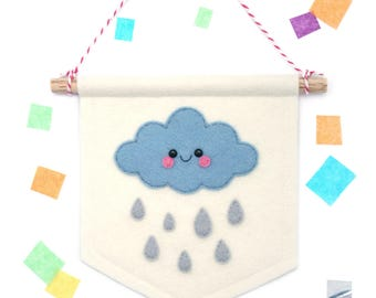 Blue Cloud Raindrop Banner, Felt Flag, Weather Gift, Cute Bedroom Decor