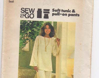 Vintage Woman's Pantsuit Pattern - Tunic Top and Wide-leg Pants- Retro 1970s Fashion - UNCUT  Butterick Sewing Pattern 4554 Size Small 8-10