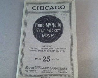 Vintage Rand Mc Nally Vest Pocket Map Of Chicago Early Travel Maps Chicago 1930 S