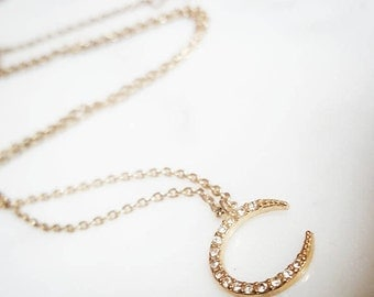 Small Diamond Crescent Moon, Gold Crescent Moon Necklace, Studded Crescent Moon, Crystal Charm, CZ charm, Gift for Her