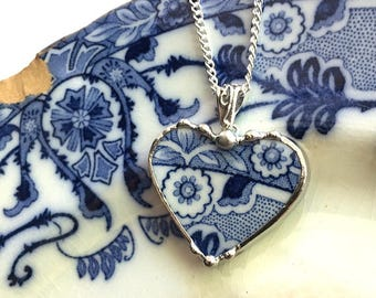 Broken china jewelry, heart pendant necklace, antique aesthetic Victorian Flow Blue transferware, recycled china
