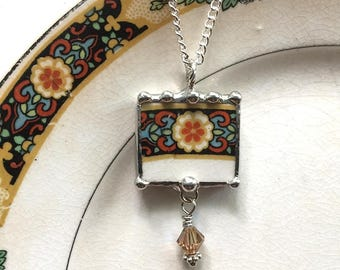Broken china jewelry, pendant necklace, Art Deco, 1920, floral, antique china, Swarovski crystal bead drop