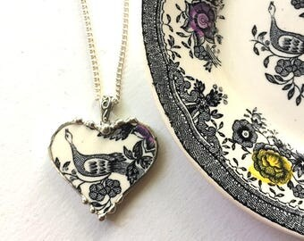 Broken china jewelry, heart pendant necklace,  Victorian black white toile English transferware bird of paradise pheasant