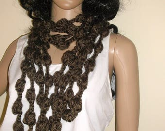 Hand Crochet Bubble infinity Chain Scarf, Circle Scarf, Infinity Scarf in Chocolate Brown