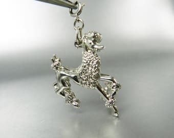 Vintage Monet Charm French Poodle Double Charm Easy To Clip On Large Silver Charms