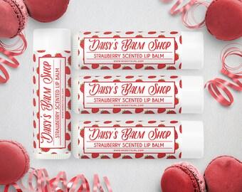 Lip Balm Labels - Lip Gloss Labels - Printable Lip Balm Labels - Label Design - Product Labels - Strawberry Lip Balm Label 5