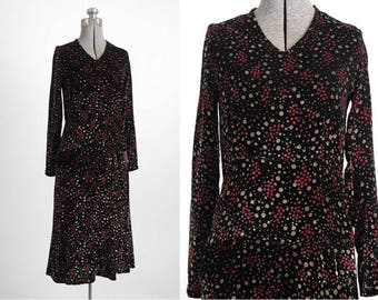 1920s bias-cut polka dot vintage silk velvet dress * 5S950