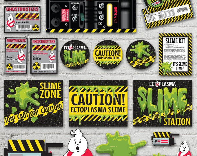 Ghost-busters Party Pack - Silly String Proton Pack Labels, ID Badges, Slime Labels & Signs + MORE | INSTANT Download Printable PDFs