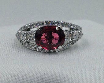 Red Spinel, Engagement Ring, Spinel Ring, Engagement Ring, Spinel Diamond Ring, August Birthstone, Red Stone Ring, Appraisal Includ.