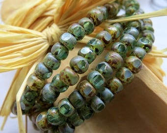 NEW SEA LEVEL Blend .  Czech Tri cut Picasso Seed Beads . size 6/0 . (50 beads)
