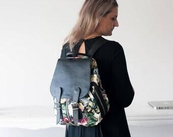 Backpack in floral canvas and black leather, canvas rucksack knapsack everyday flower back bag women - Artemis backpack