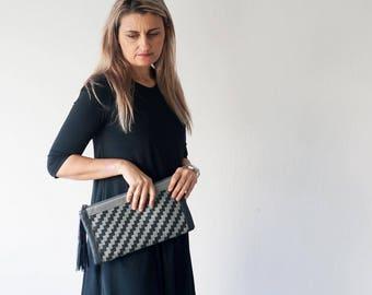 Handwoven clutch purse in dark grey and grey leather, flat rectangular clutch handbag womens evening clutch bag - The Leto clutch